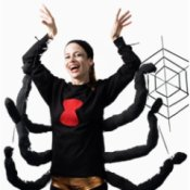 Woman in Black Widow Spider Costume