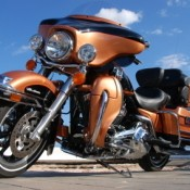 A new Harley Davidson motorcycle.