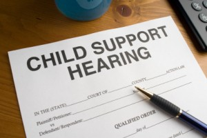 Court Paperwork regarding a child support hearing.