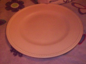 Pink pastel dinner plate.