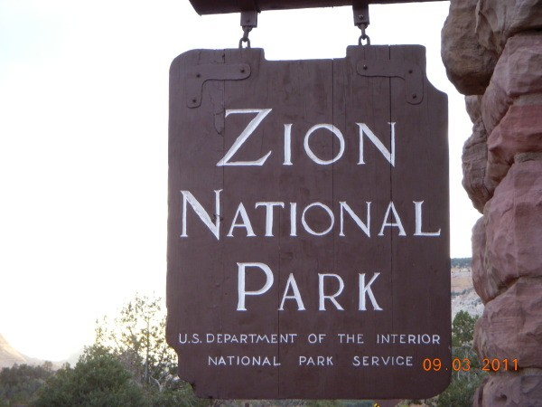Park Sign for Zion National Park