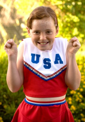 Little Girl in Cheerleader Costume