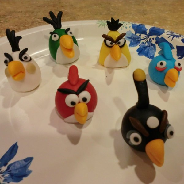 The birds for the Angry Birds cake.