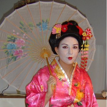 Woman in Pink Geisha Costume