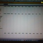 Photo of spreadsheet for budgeting.