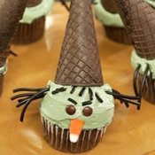 Wicked witch cupcakes with ice cream cone hats.