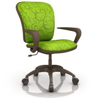 Office chair with lime green cushions.