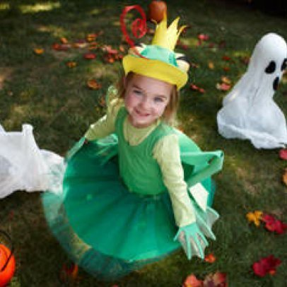 Little Girl in Homemade Frog Costume
