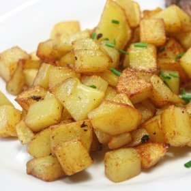 Diced potato home fries.
