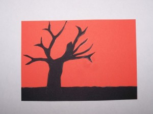 Sunset Silhouette Card - Adding the tree to the card.