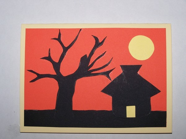 Sunset Silhouette Card - Finished Card.
