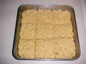 Pan of treats cut into large squares.