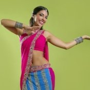 Woman in a Bollywood costume.