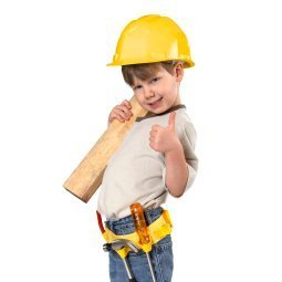 Little boy dressed up as a construction worker.
