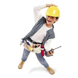 Young boy dressed up as a construction worker.