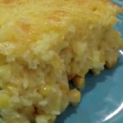 Upclose photo of corn spoon bread.