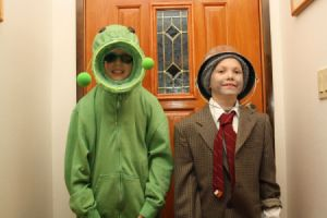 Boys Dressed up as Plant and Zombie