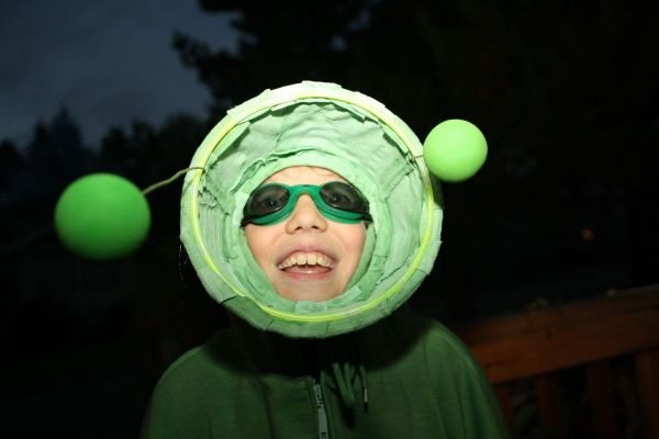 Closeup of Boy in Plant Costume