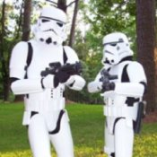 Two Men Dressed as Storm Troopers in the Woods