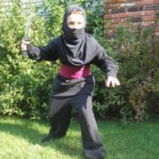 Child in a homemade ninja costume.