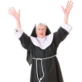 Woman in a nun costume.