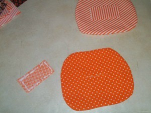 Patch with glue applied ready to cover the slit in back of the pumpkin.