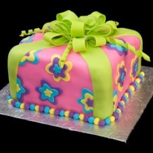 Cake covered in fondant.