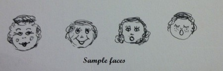 Sample of face sketch ideas, if you purchase head beads without faces already painted on.
