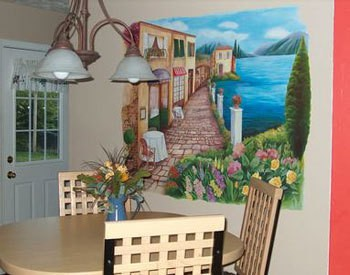 Photo of a kitchen mural.