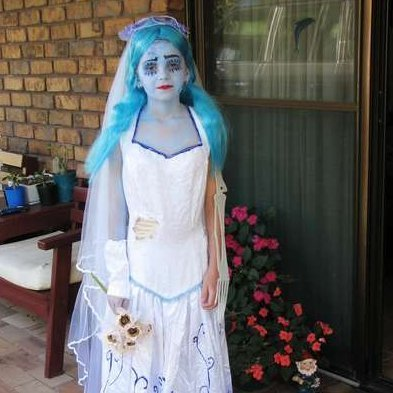 Young girl dressed as the Corpse Bride.