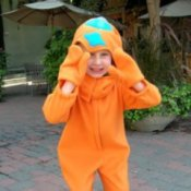 Boy in Dinosaur Costume
