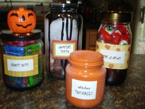 Halloween lab jar display.