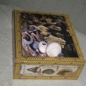 Photo of a decoupaged cigar box.
