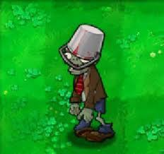 A buckethead zombie from the game, Plants Vs. Zombies