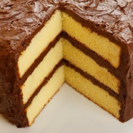Yellow cake with chocolate frosting.