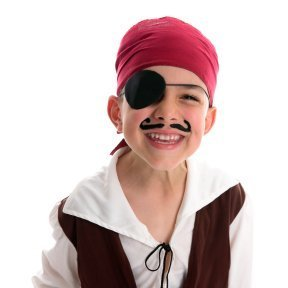 Young boy in a pirate costume.