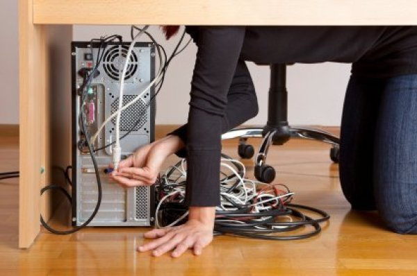 how to organize wires behind desk