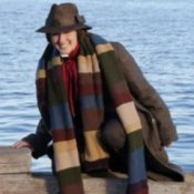 Homemade Doctor Who costume with 13 ft. long scarf.