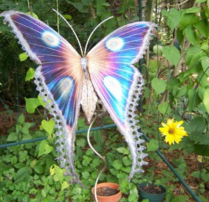 Butterfly art in a butterfly garden.