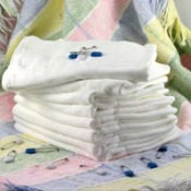 Stack of diapers.