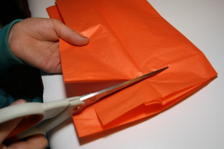 Cutting Strips of Orange Tissue Paper
