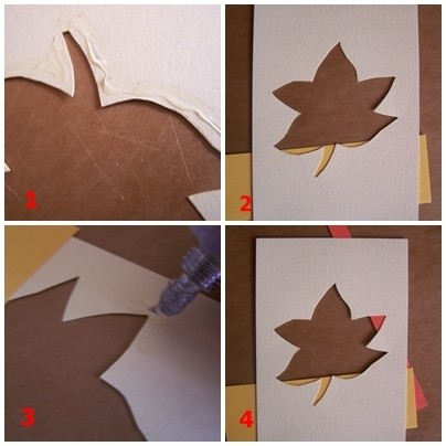 Four images of the leaf stencil and application of glue and first colored paper strips.