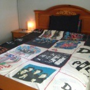 Quilt made from concert t-shirts.