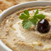 Photo of homemade hummus.