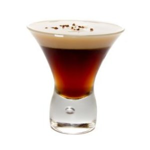 Coffee liqueur and Irish cream in a glass.