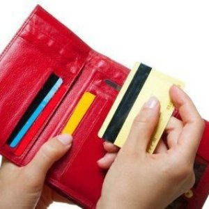 Discount and Credit Cards in Red Wallet