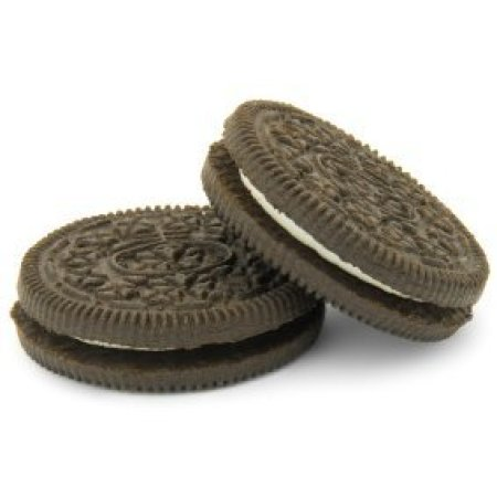 Two Oreo cookies on a white background.