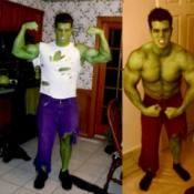 Two pictures of a man dressed as the Incredible Hulk.