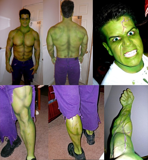 More detailed photos of the Incredible Hulk costume.