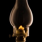 Photo of an oil lamp.